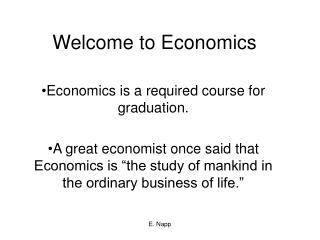 Welcome to Economics