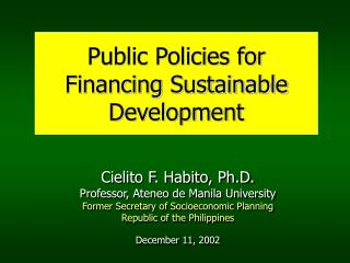 Public Policies for Financing Sustainable Development