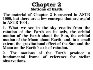 Chapter 2 Motions of Earth