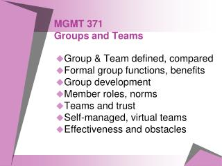 MGMT 371 Groups and Teams