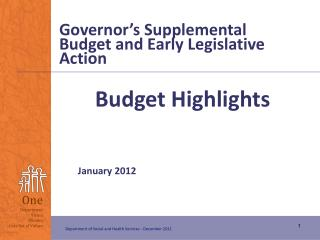 Governor's Supplemental Budget and Early Legislative Action