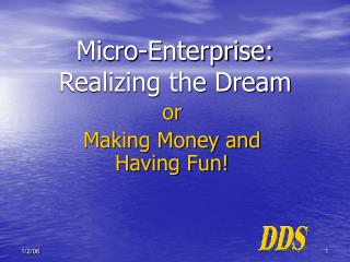 Micro-Enterprise:  Realizing the Dream