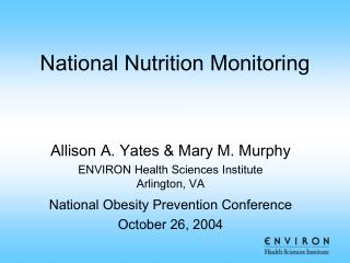 National Nutrition Monitoring