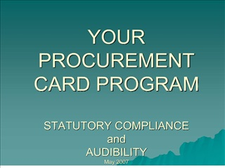 YOUR PROCUREMENT CARD PROGRAM STATUTORY COMPLIANCE and ...