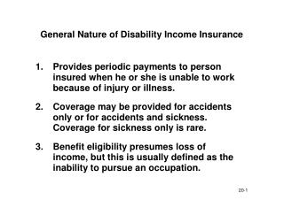 General Nature of Disability Income Insurance
