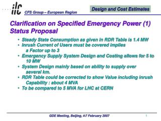 Clarification on Specified Emergency Power (1) Status Proposal