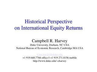 Historical Perspective  on International Equity Returns