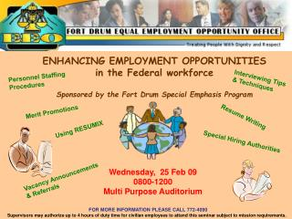 ENHANCING EMPLOYMENT OPPORTUNITIES in the Federal workforce