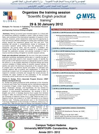 Organizes the training session ''Scientific English practical training'' 29 & 30 January 2012