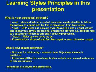 Learning Styles Principles in this presentation