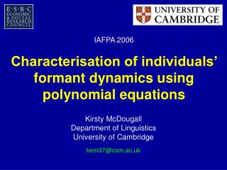 Characterisation of individuals' formant dynamics using polynomial equations