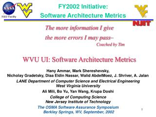 FY2002 Initiative:   		Software Architecture Metrics