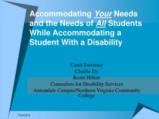 Carol Sweetser Charlie Dy Kerin Hilker Counselors for Disability Services