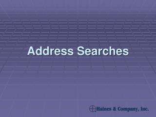 Address Searches