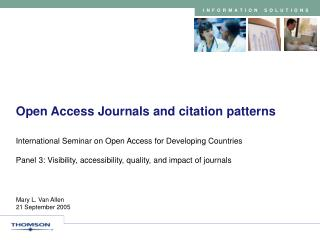 Open Access Journals and citation patterns
