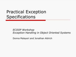 Practical Exception Specifications