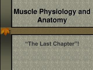 Muscle Physiology and Anatomy