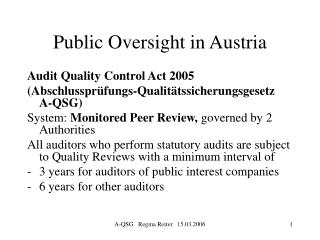 Public Oversight in Austria