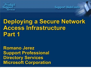 Deploying a Secure Network  Access Infrastructure Part 1   Romano Jerez Support Professional Directory Services Microsof