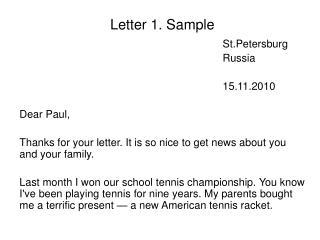 Letter 1. Sample