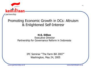 Promoting Economic Growth in DCs: Altruism & Enlightened Self-Interesr