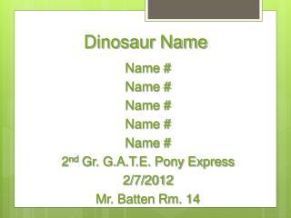 Dinosaur Name
