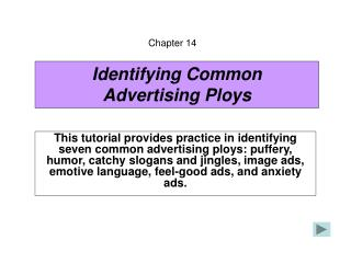 Identifying Common Advertising Ploys