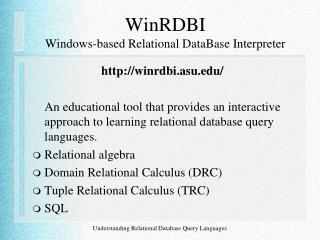 WinRDBI  Windows-based Relational DataBase Interpreter