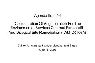 California Integrated Waste Management Board June 18, 2003
