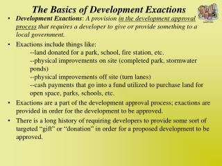 The Basics of Development Exactions