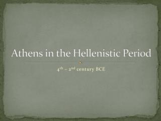Athens in the Hellenistic Period
