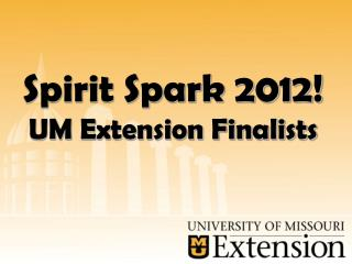 Spirit Spark 2012! UM Extension Finalists