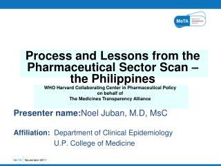 Presenter name: Noel Juban, M.D, MsC Affiliation: Department of Clinical Epidemiology
