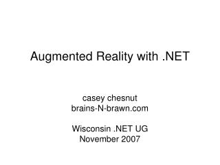 Augmented Reality with .NET