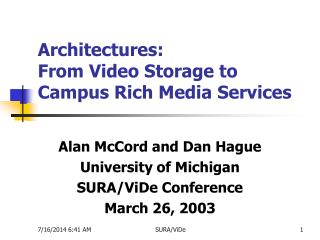 Architectures: From Video Storage to Campus Rich Media Services