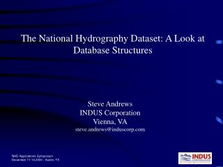 The National Hydrography Dataset: A Look at Database Structures