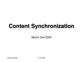 Content Synchronization