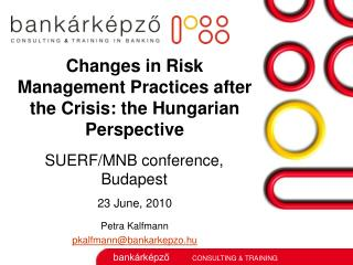 Changes in Risk Management Practices after the Crisis: the Hungarian Perspective