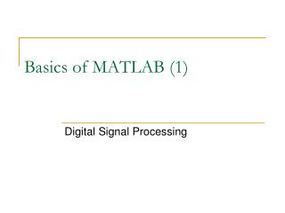 Basics of MATLAB (1)