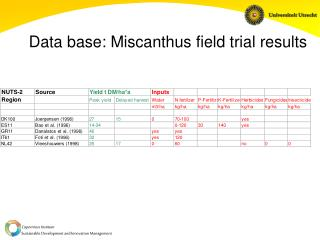 Data base: Miscanthus field trial results