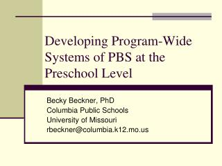 Developing Program-Wide Systems of PBS at the Preschool Level