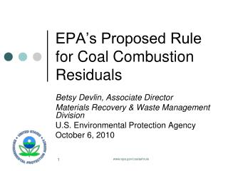 EPA's Proposed Rule for Coal Combustion Residuals