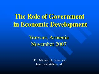 The Role of Government  in Economic Development