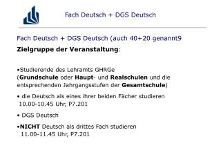 Fach Deutsch + DGS Deutsch