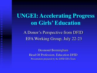 UNGEI: Accelerating Progress on Girls' Education