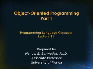 Object-Oriented Programming Part 1