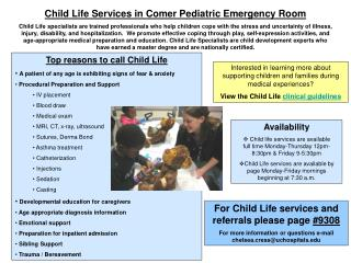 Child Life Services in Comer Pediatric Emergency Room