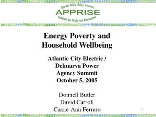 Energy Poverty and Household Wellbeing Atlantic City Electric /  Delmarva Power  Agency Summit