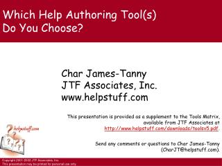 Which Help Authoring Tool(s) Do You Choose?