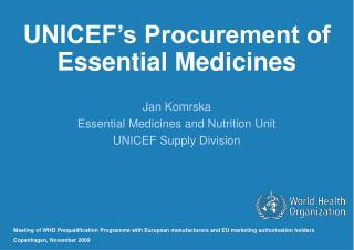 UNICEF's Procurement of Essential Medicines